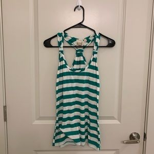 Green and white striped tank